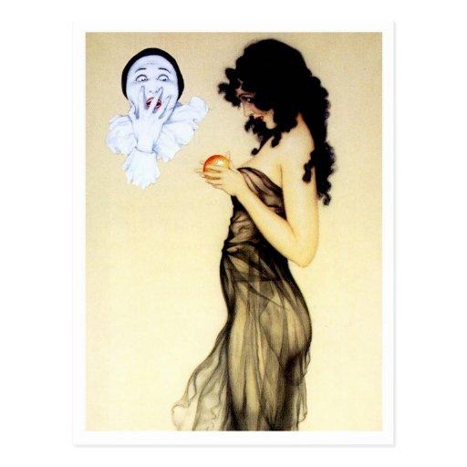 Tentación - de la serie del amor del Pierrot Tarjetas Postales