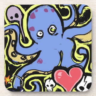 Tentacle and Skull Love Beverage Coasters