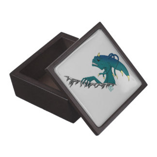 Tentacled and Horned Alien Ripping Aqua Recolor Jewelry Box