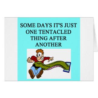 tentacled monster joke card