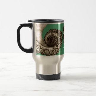 Tentáculo náutico verde del pulpo del vintage taza térmica