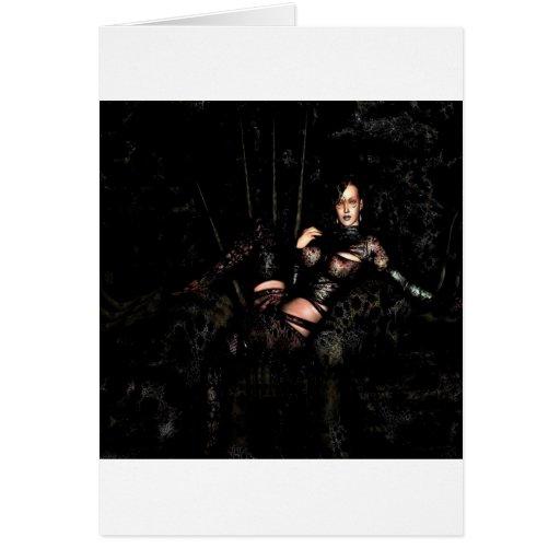 Tentadora abstracta de la viuda negra de la fantas tarjetón