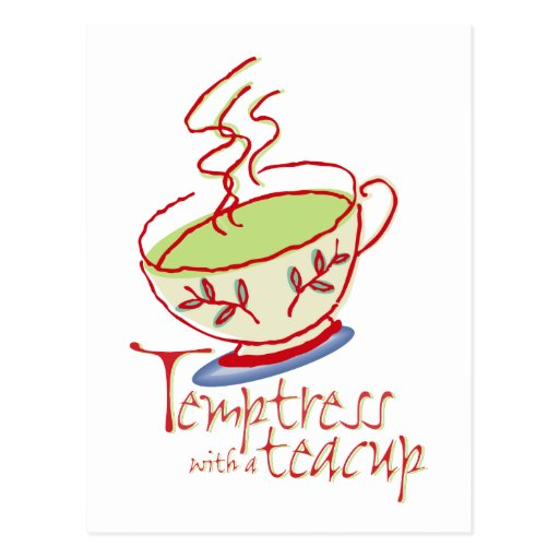 Tentadora con una postal de la taza de té