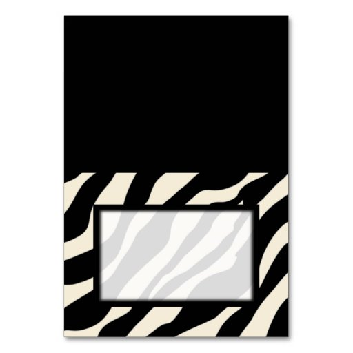 Tented Zebra Print Blank Place Card Tablecard Table Cards