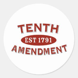 Tenth Amendment Est 1791 Classic Round Sticker