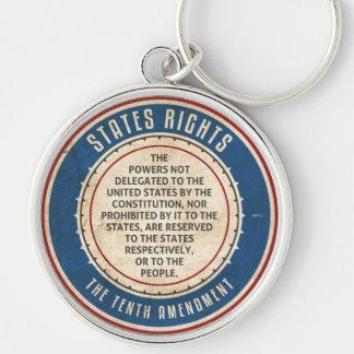 Tenth Amendment Silver-Colored Round Keychain