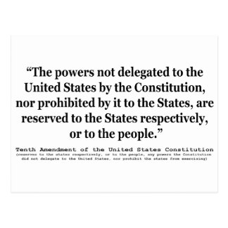 Tenth Amendment to the United States Constitution Postcard
