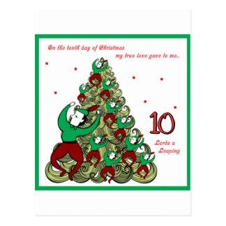 Tenth Day of Christmas Postcard