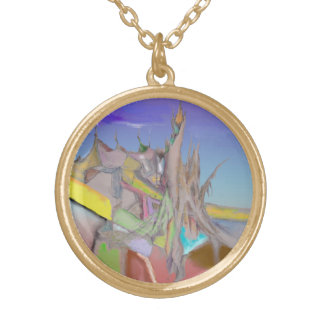 Tents Abstract Design Gold Plated Necklace