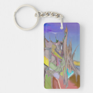 Tents Abstract Design Keychain