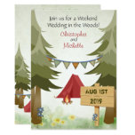 Tents and Campfire Woodland Camping Wedding Invite