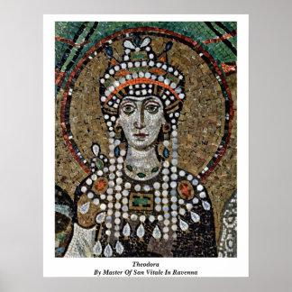Teodora por el amo de San Vitale en Ravena Posters