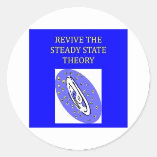 teoría de estado estacionario pegatina redonda
