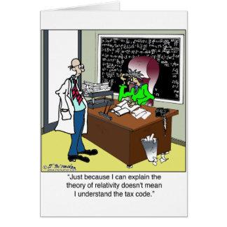 Teoría de la relatividad y del código impositivo tarjeta de felicitación