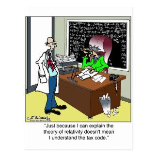 Teoría de la relatividad y del código impositivo tarjeta postal