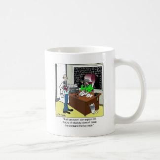 Teoría de la relatividad y del código impositivo taza de café