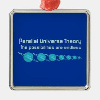 Teoría paralela del universo adorno navideño cuadrado de metal