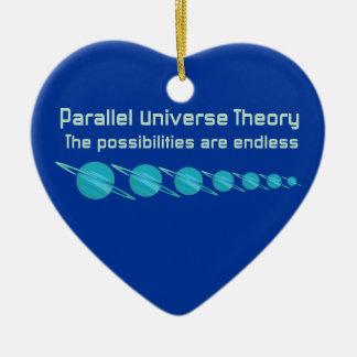 Teoría paralela del universo adorno navideño de cerámica en forma de corazón