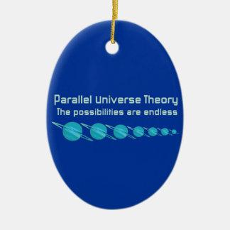 Teoría paralela del universo adorno navideño ovalado de cerámica