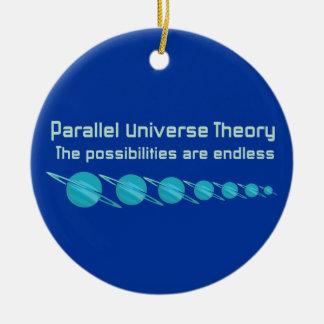 Teoría paralela del universo adorno navideño redondo de cerámica
