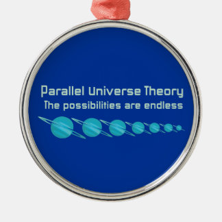 Teoría paralela del universo adorno navideño redondo de metal