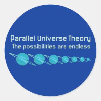 Teoría paralela del universo pegatina redonda