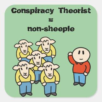 Teórico = non-sheeple de la conspiración pegatina cuadradas personalizada