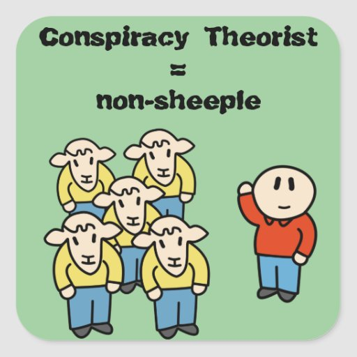 Teórico = non-sheeple de la conspiración pegatina cuadrada