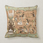 Teotihuacan Ancient Mural Mexico Throw Pillow