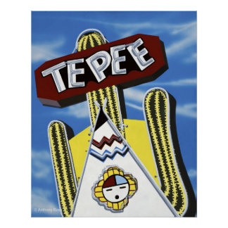 Tepee Curio Shop on Route 66 Retro Neon Poster