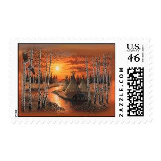 tepee indian postage stamp