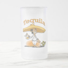 Tequila Cactus Mexican Sombrero Frosted Glass Beer Mug