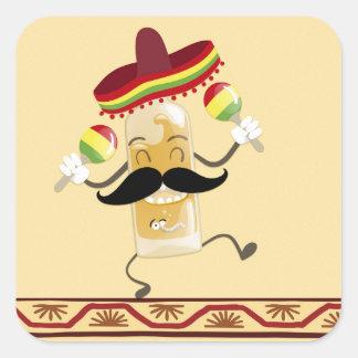 Tequila con el sombrero pegatina cuadrada