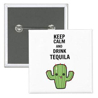 Tequila de la bebida pin cuadrado
