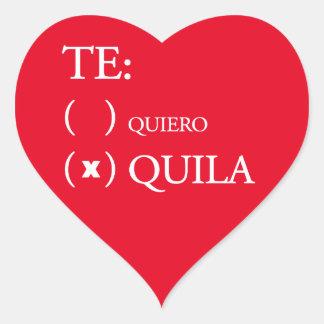 Tequila de Te Quiero Pegatina En Forma De Corazón