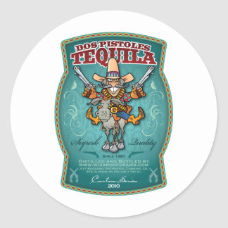 Tequila del DOS Pistoles Pegatina Redonda