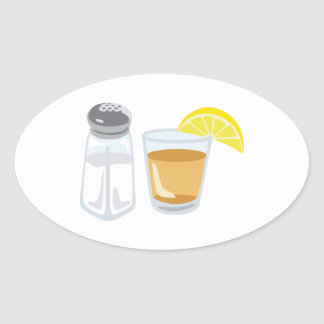 Tequila Drink Glass Salt Shaker Lemon Oval Sticker