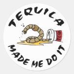 Tequila mexicano divertido etiqueta redonda