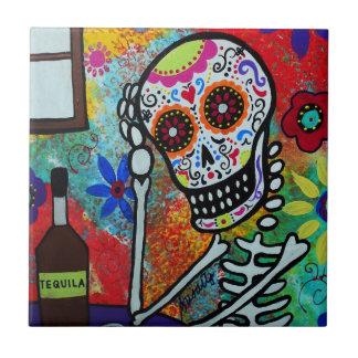Tequila Skull Dia de Los Muertos Tiles por los pri Azulejo Cuadrado Pequeño