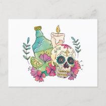 Tequila Sugar Skull Holiday Postcard