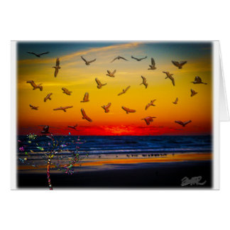 Tequila Sunrise Atlantic Ocean Groovy Palm Tree Ar Greeting Card