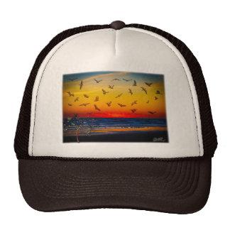 Tequila Sunrise Atlantic Ocean Groovy Palm Tree Ar Mesh Hats
