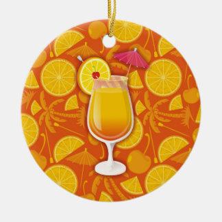 Tequila sunrise ceramic ornament