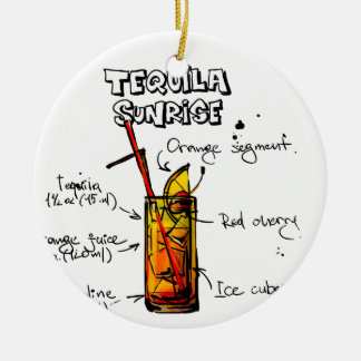 Tequila Sunrise Cocktail Recipe Ceramic Ornament