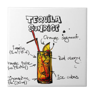 Tequila Sunrise Cocktail Recipe Ceramic Tile