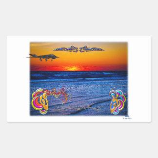 Tequila Sunrise Over Atlantic Big Beach Big Fun Rectangular Sticker