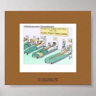 Tequila Worm Rehab Funny Cartoon On Canvas Print