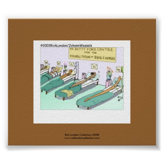 Tequila Worm Rehab Funny Cartoon On Canvas Print