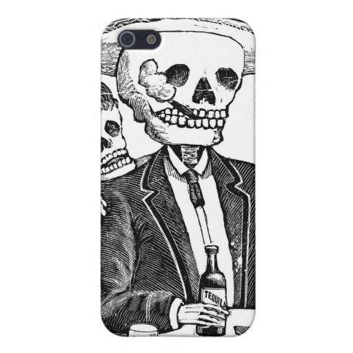 Tequila y el fumar de consumición esqueléticos iPhone 5 protector