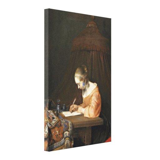Ter de Gerard Borch (ii) - mujer que escribe una l Impresión En Lienzo